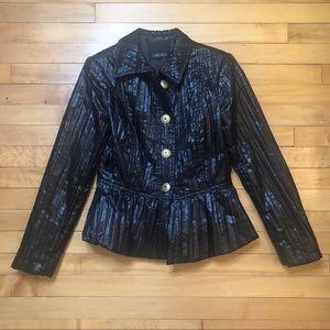 Carlisle Black Pleated Peplum Puffy Blazer Jacket